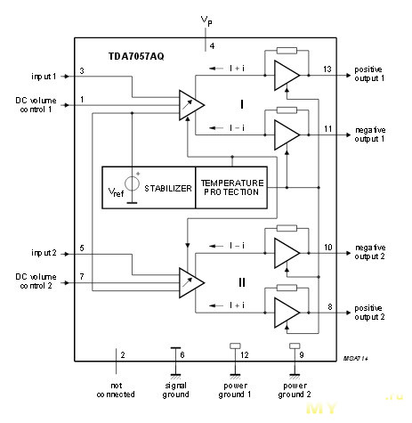 Принципиальная схема стерео-усилителя на tda7265 с однополярным питанием