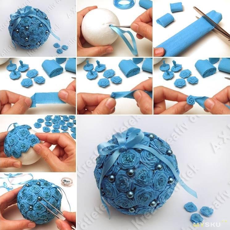 Елочные игрушки из пенопластового шара своими руками