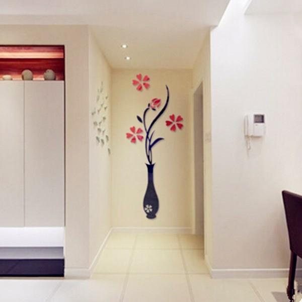 ChinaBuye: 3d декор-стикер акриловая ваза с цветами