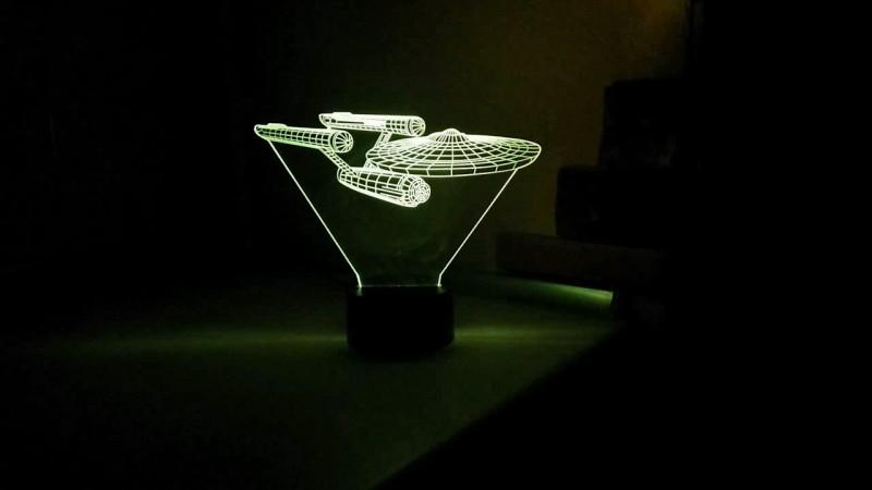 Tmart: Настольная лампа для декора, 3D звездный крейсер USS Enterprise