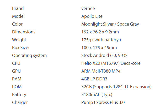TomTop: Vernee Apollo Lite  (5.5, 4GB Ram, 32GB Rom, Helio X20)