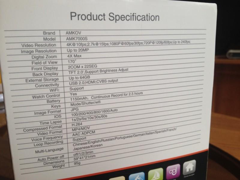 GearBest: Экшен камера Amkov AMK7000S: 4К, 2.7К, FullHD 60fps, 720 120fps, Wi-Fi.