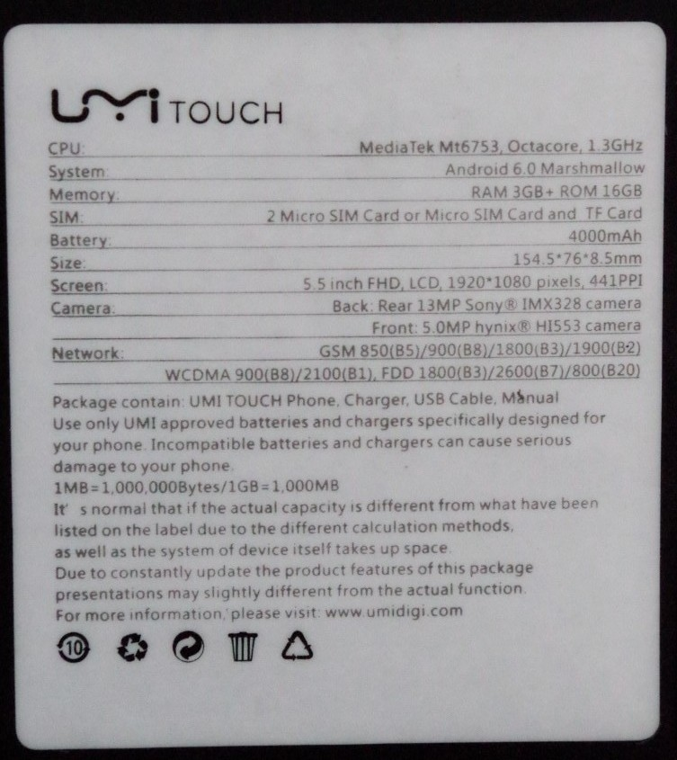 TomTop: Смартфон UMI Touch