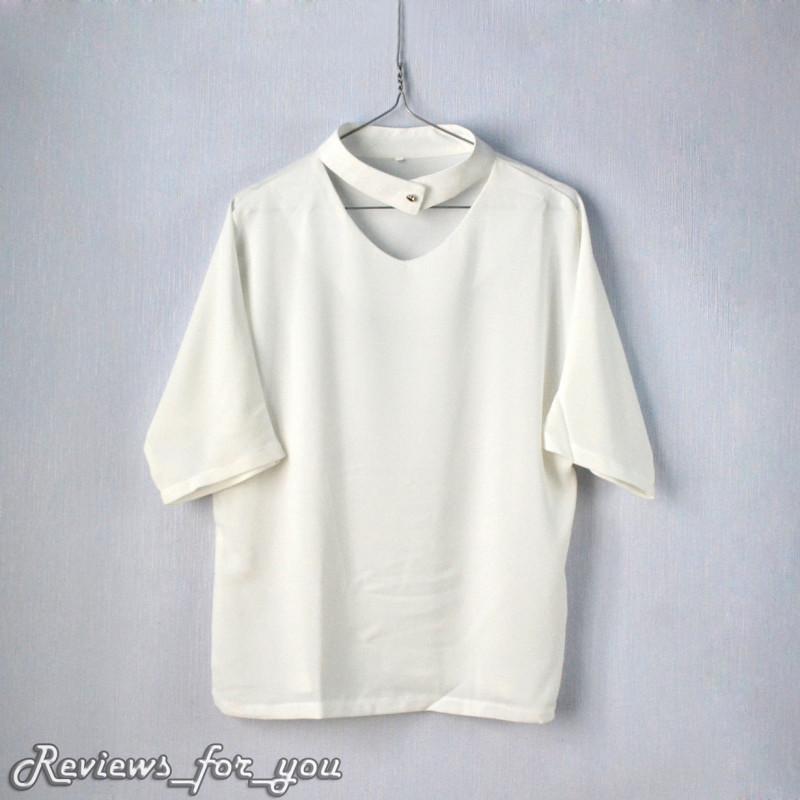 Aliexpress: Блузка с короткими рукавами / блузка молочного цвета