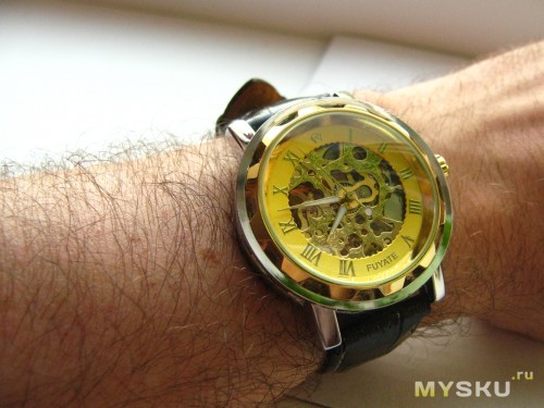 Skeleton Mechanical Automatic Movement Watch Black Dial