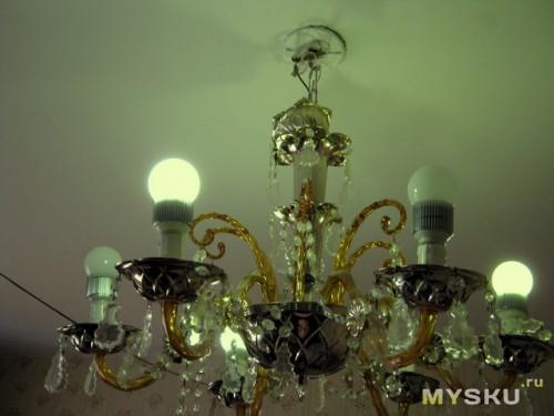 Люстра с целыми лампочками