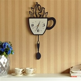 Stylish Cup Environmental Baking Finish Iron Wall Clocks