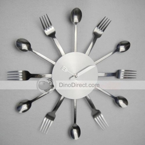 Modern Stainless Steel Scoops Forks Silence Wall Clocks