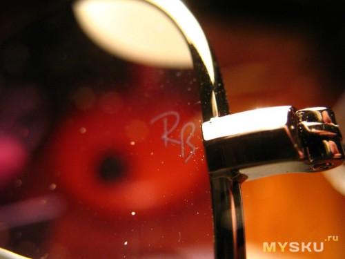Знак Ray Ban на внутренней стороне стеклышка
