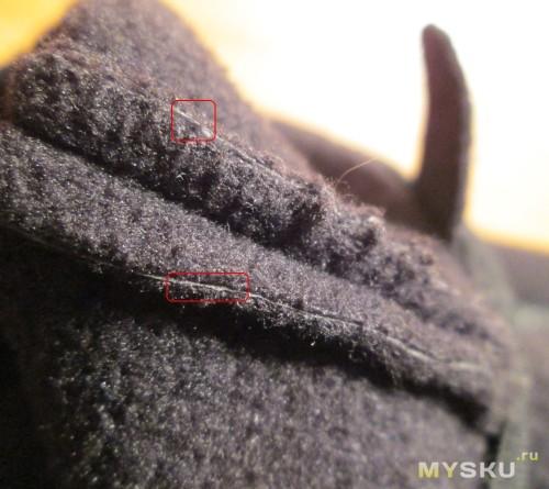 Срез материала выглядит следующим образом - слой флиса - мембрана - свой флиса