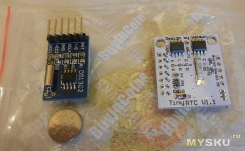 Часы реального времени в комплекте с батарейками, на DS3107 и DS3102