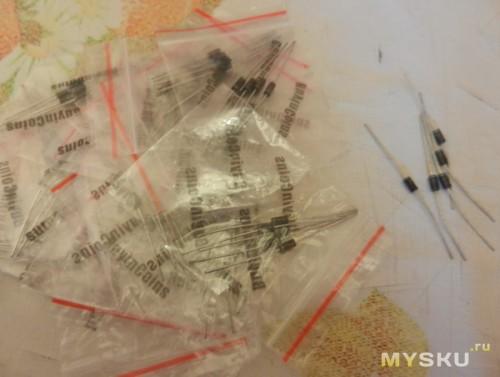Диоды 1N4007 упакованы по 5 шт. в пакетик, всего 100шт.