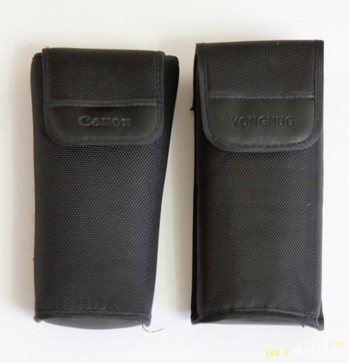 Сравнение с чехлом от вспышки Canon