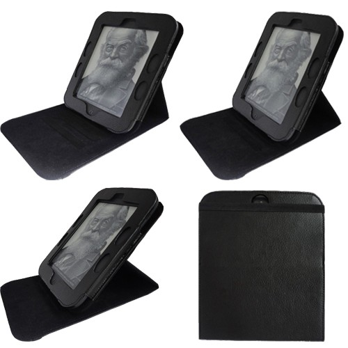 For Barnes Noble Nook 2 Simple Touch 2nd Edition Black Stand Leather Case Cover