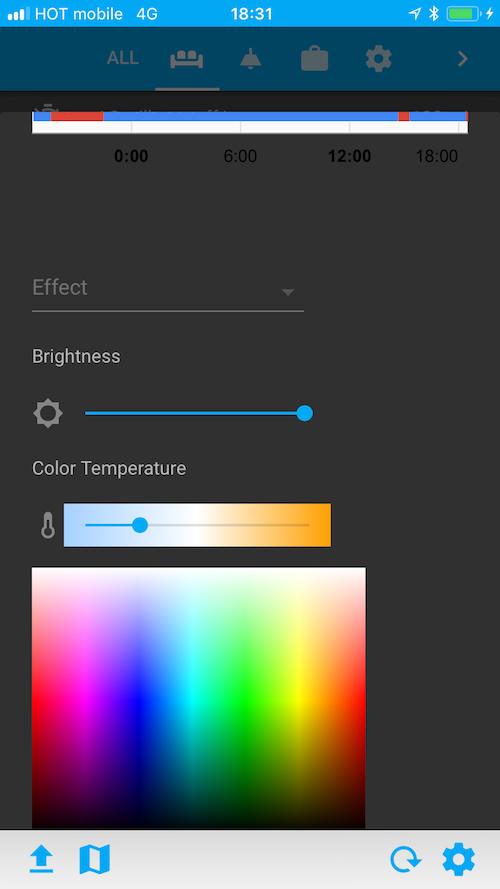 Интерфейс управления Mi RGB Bulb внутри Home Assistant