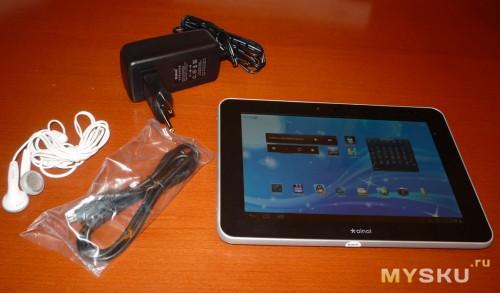 Планшет, зарядное, наушники, USB кабель