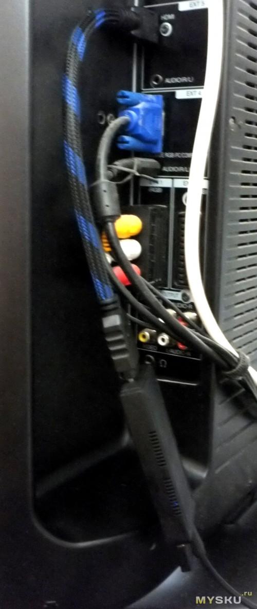 """Размещение устройства """"на шнуре HDMI"""""""