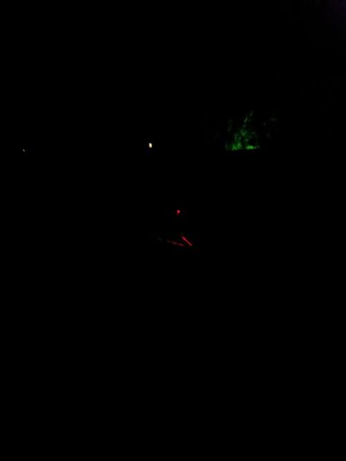 Метров с десяти с выключенными светодиодами и фонарем