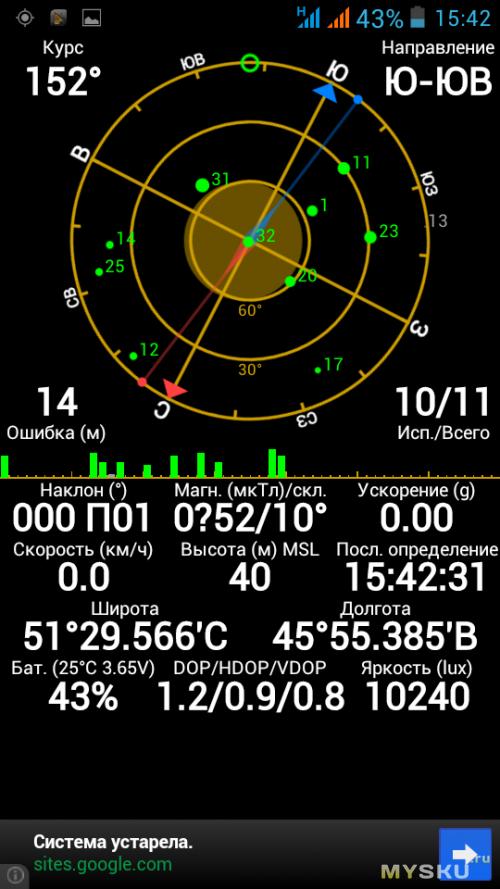 GPS пасмурно, дождь 1