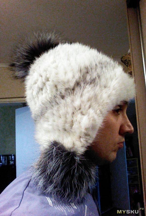 шапка вязаная с мехом (норка, лиса)