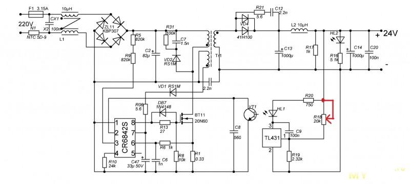 Инвертор с 24 в на 12в схема 408
