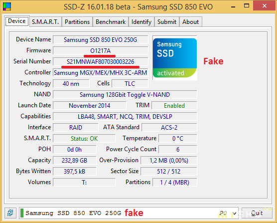 S.M.A.R.T. Fake SSD Samsung 850 EVO from AE-Samsung Store