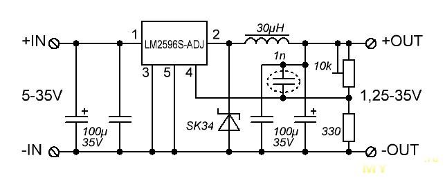 Lm2596s adj схема включения