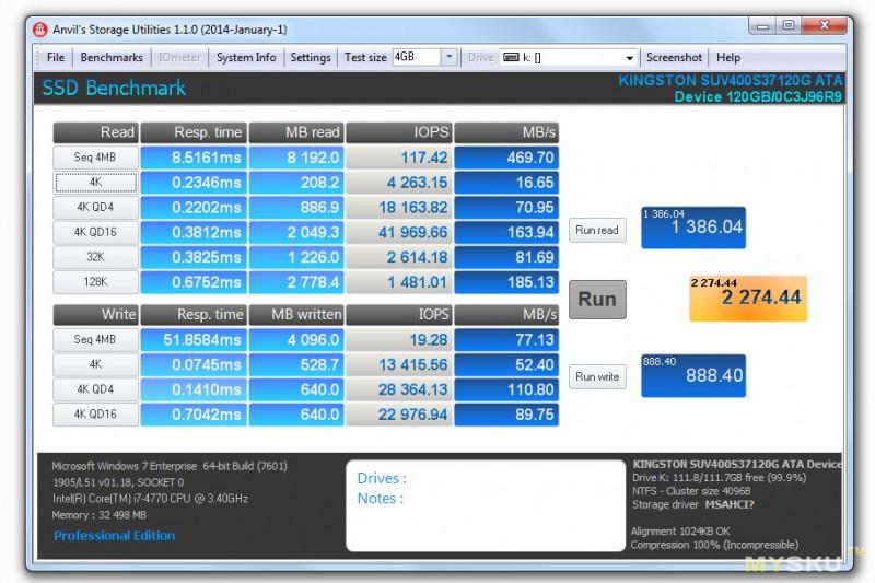 Обзор SSD накопителя Kingston UV400 120Gb