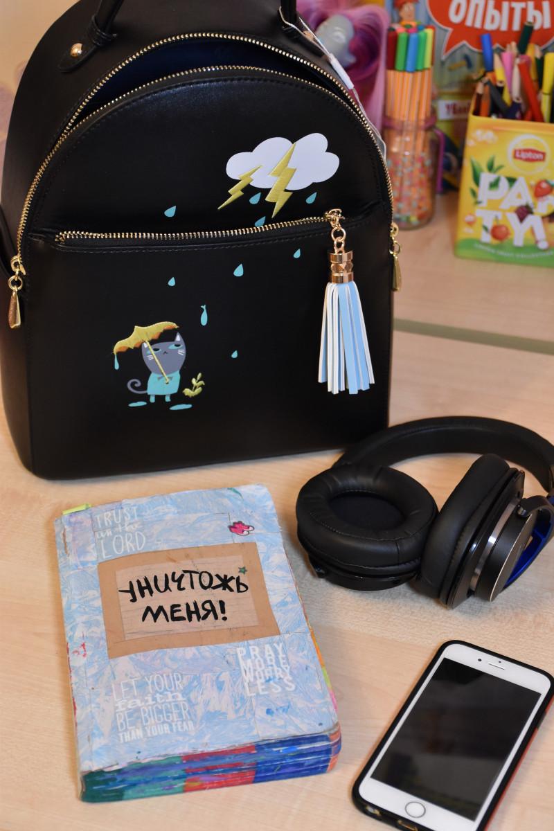 GearBest: PU Leather Cartoon Print Tassel Backpack - рюкзачок со вкусом мурррр нежности...
